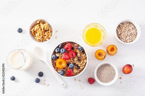 Fotomural healthy granola for breakfast with berry fruit nut, vegan milk