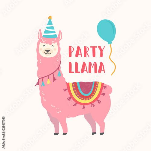 Happy Birthday Card With Cute Cartoon Llama Design Buy This Stock