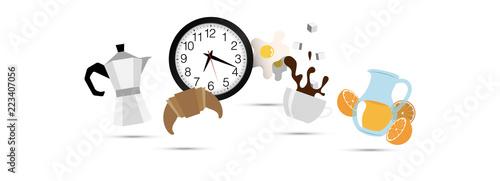 Photo icone, colazione, mattina, moka