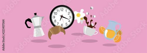 icone, colazione, mattina, moka Wallpaper Mural