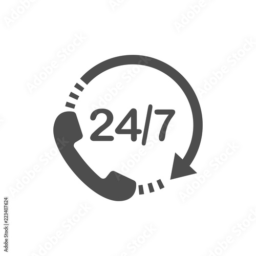 Valokuva  Call 24 icon. Vector illustration, flat design.