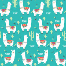 Cute White Llama, Alpaca And Cactus Seamless Pattern Design. Trendy Cartoon Llama Vector Background