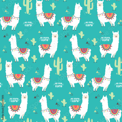 plakat Cute white llama, alpaca and cactus seamless pattern design. Trendy cartoon llama vector background