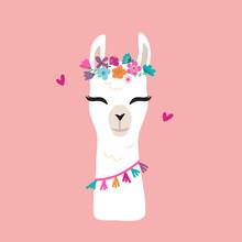Cute Cartoon Llama Alpaca Vect...