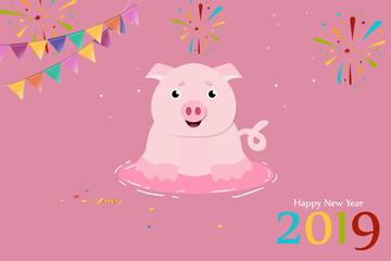 Cute pig for 2019 Chinese New Year. Design for greeting card. Vector illustration
