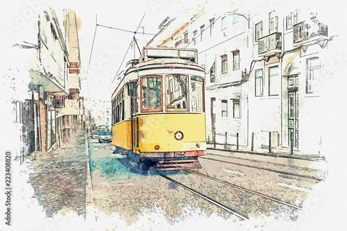 Платно Sketch with watercolor or illustration of a traditional old tram moving down the street in Lisbon in Portugal