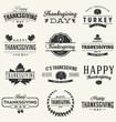 Happy Thanksgiving Day typographic design collection. A set of vintage style Thanksgiving Day label, badge or poster design