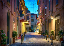 Evening View Of Via De' Fusari Street, Bologna, Italy.