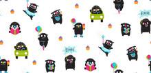 Funny Hand Drawn Monster Children Pattern Design.