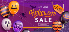 Sale Banner For Happy Halloween Holiday With Lettering On Geometric Background With Monster Balloons.50 Percent Discount Card For Web,poster,flyers,ad,promotions,blogs,social Media,marketing.Vector.