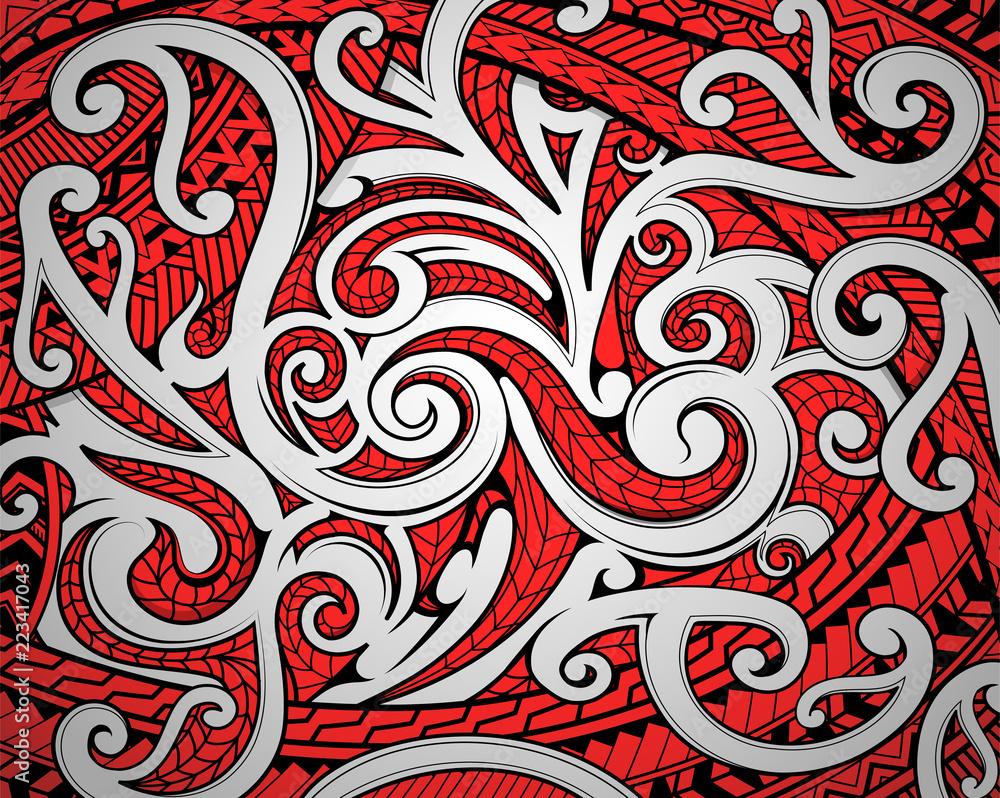 Fototapeta Maori tribal ornament