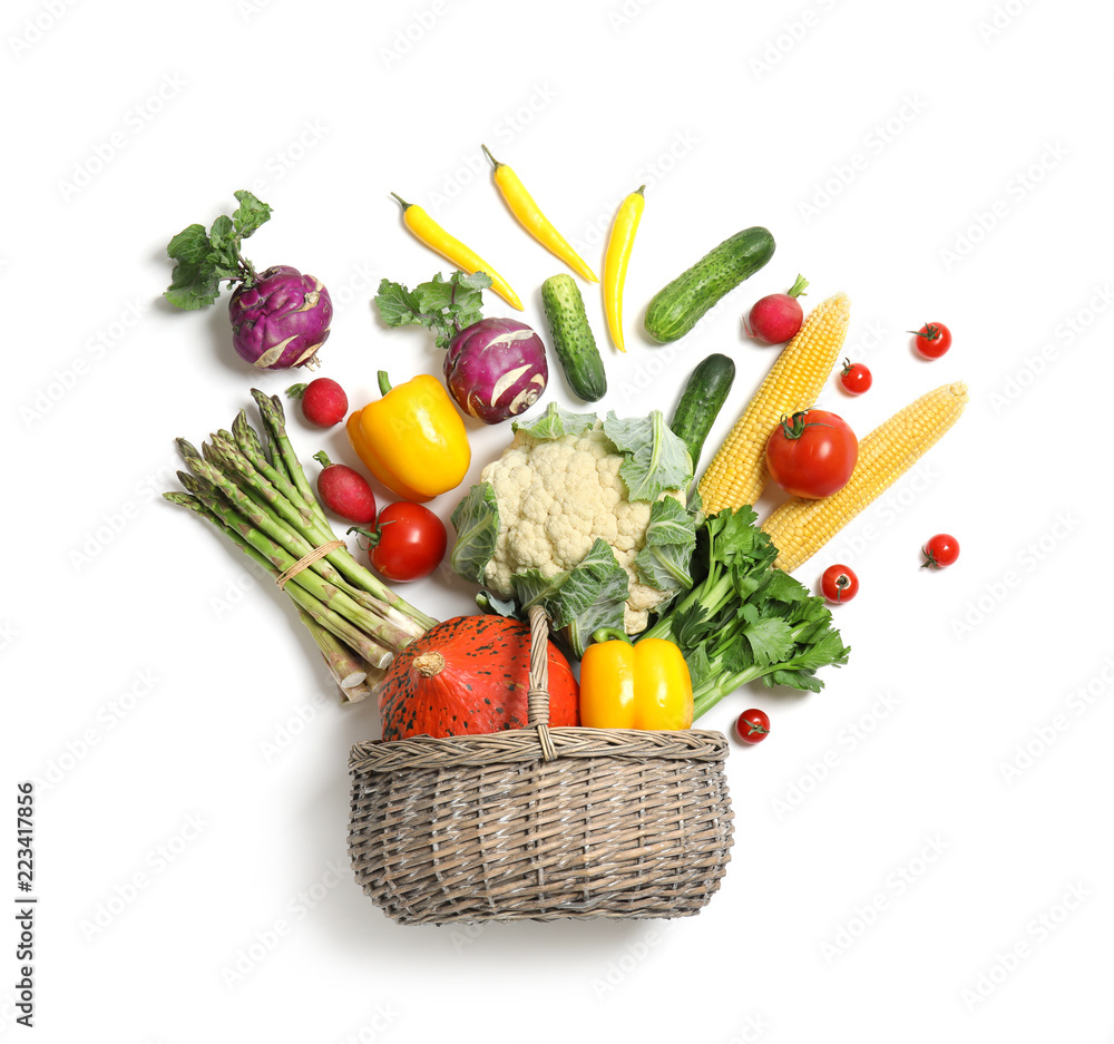 Flat lay composition with fresh vegetables on white background