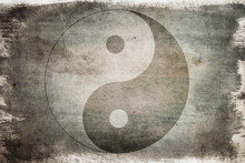 Chinese Yin Yang Sign On A Background On Old, Painted Wood