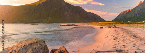 Spoed Foto op Canvas Zalm Landscape at sunset in Norway, Europe
