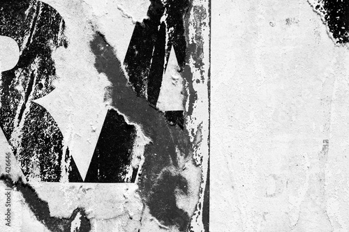 Fotografía  Black white old grunge ripped torn vintage collage posters creased crumpled pape