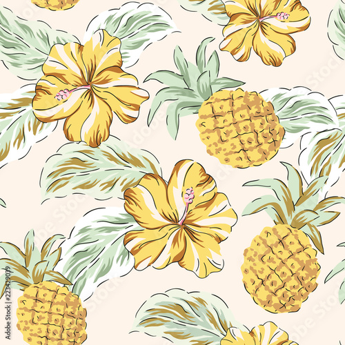 Fototapeten Künstlich Tropical yellow hibiscus flowers, green palm leaves, pineapples background. Vector seamless pattern. Jungle illustration. Exotic plants and fruits. Summer beach floral design. Paradise nature