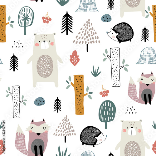 Photographie  Seamless childish pattern with cute bear, fox, hedgehogs in the wood
