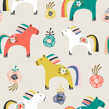 Seamless Pattern With Decorative Wooden Toy Horse And Flowers. Creative Scandinavian Style Childish Texture. Great For Fabric, Textile Vector Illustration