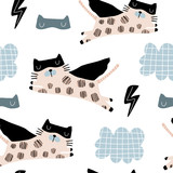 Bezszwowy dziecinny wzór z ślicznymi kotami bohatera maska, błysk, gwiazda, chmura. Twórcza tekstura dzieci na tkaniny, opakowania, tekstylia, tapety, odzież. Ilustracji wektorowych - 223430475