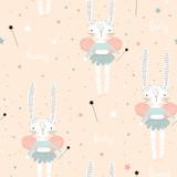 Wzór z cute bunny baleriny ze skrzydłami, gwiazdami, magiczną różdżką. Kreatywne dziecinne tło. Idealny do odzieży dziecięcej, tkaniny, tekstyliów, dekoracji przedszkola, papieru do pakowania. Ilustracja wektorowa - 223430881