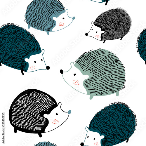 Fotomural Seamless pattern with ink drawn hedgehogs