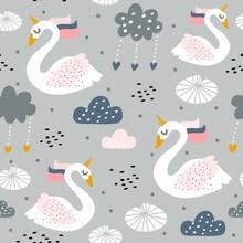 Seamless Childish Pattern With Swan Unicorn On Gray Background Creative Nursery Texture. Perfect For Kids Design, Fabric, Wrapping, Wallpaper, Textile, Apparel
