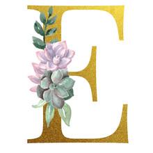 Watercolor Monogram Alphabet Letter E Gold Foil