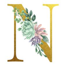 Watercolor Monogram Alphabet Letter N Gold Foil