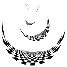 Abstract Black And White Flying Away Chessboards. Humorous Autumn Background.