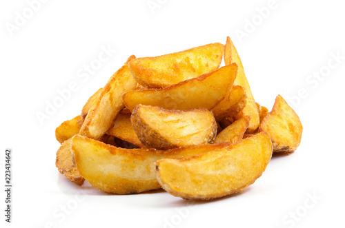 Fototapeta fried Potato wedges. Fast food. Isolated on white obraz