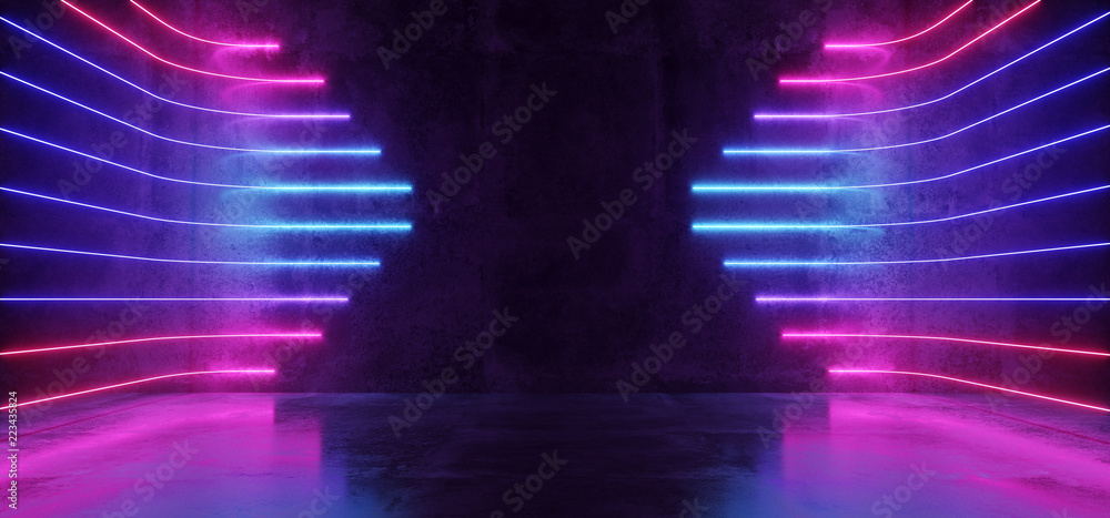 Fototapety, obrazy: Futuristic Sci-Fi Modern Empty Stage Reflective Concrete Room With Purple And Blue Glowing Neon Tubes Shape Empty Space Wallpaper Background 3D Rendering