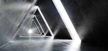 Empty Long Light Polished Concrete Modern Sci-Fi Futuristic Triangle Shaped Construction Tunnel Corridor 3D Rendering