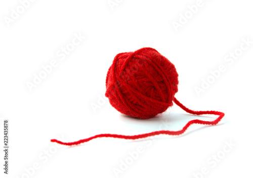 Obraz na plátne Ball of yarn on white background