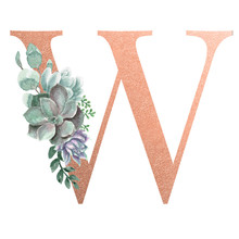 Watercolor Monogram Alphabet Letter W Rose Gold Foil