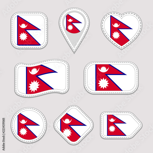 Nepal flag vector set  Nepalese flags stickers collection