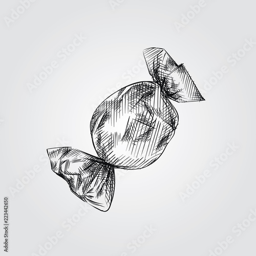 Fotografía  Hand Drawn Candy wrapped Sketch Symbol isolated on white background