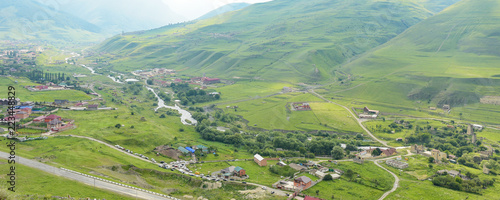 Fiagdon high mountain village in Kurtatinskoe gorge, Republic of North Ossetia, Wallpaper Mural