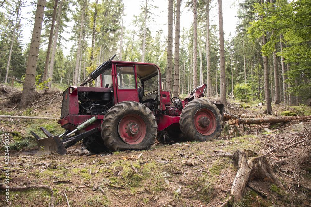 Fototapeta Traktor i wycinka drzew, niszczenie lasu