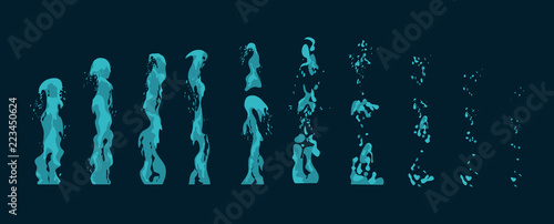 Obraz na plátne Vector illustration set of water geysers, fountains and spray eruption stages for animation or game