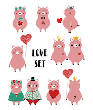 Love Set With Funny Pig.