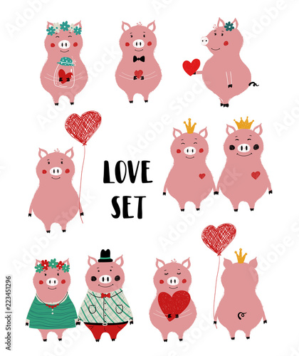 Photo Stands Owls cartoon Love Set With Funny Pig.