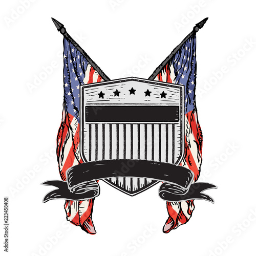 Obraz na plátne Isolated Vector Double American Flags behind Distressed Rustic Shield with Stars & Stripes and Banner