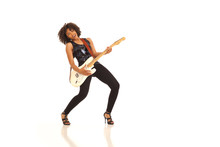 Millennial Female Musician Playing Electric Guitar Isolated On White Backdrop
