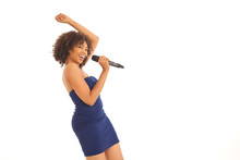 Young Energetic Woman Singing ...