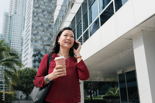 Fotografie, Obraz  Businesswoman Talking On Cell Phone And Commuting