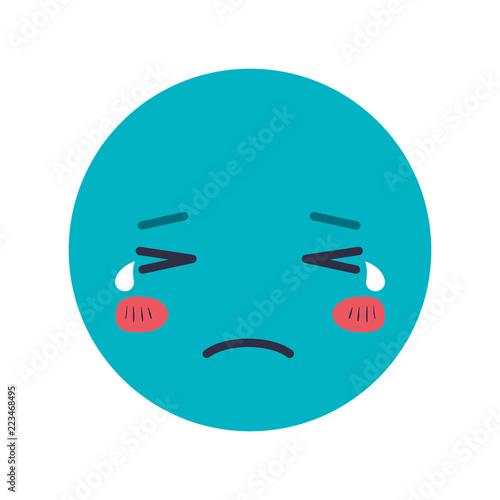 Fotografie, Tablou  cartoon sad head kawaii character