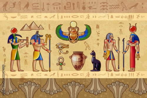 Canvas Print Egypt Horizontal Illustration