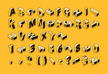 Isometric Line Font And Halfto...