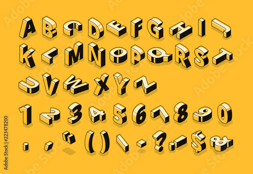 Leinwand Poster Isometric line font and halftone alphabet letters vector illustration