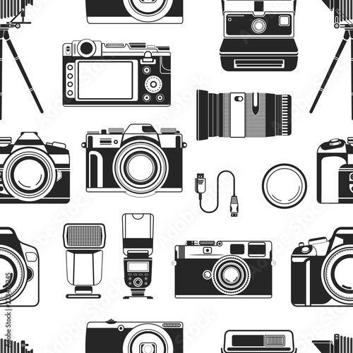 Camera photograph apparatus equipment for photographers seamless pattern vector Wallpaper Mural